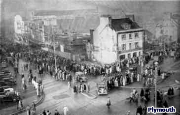 8,000 people lined the streets of Plymouth for the re-opening of Woolworths, which had been destroyed by enemy action in 1942, and was finally reinstated in November 1951