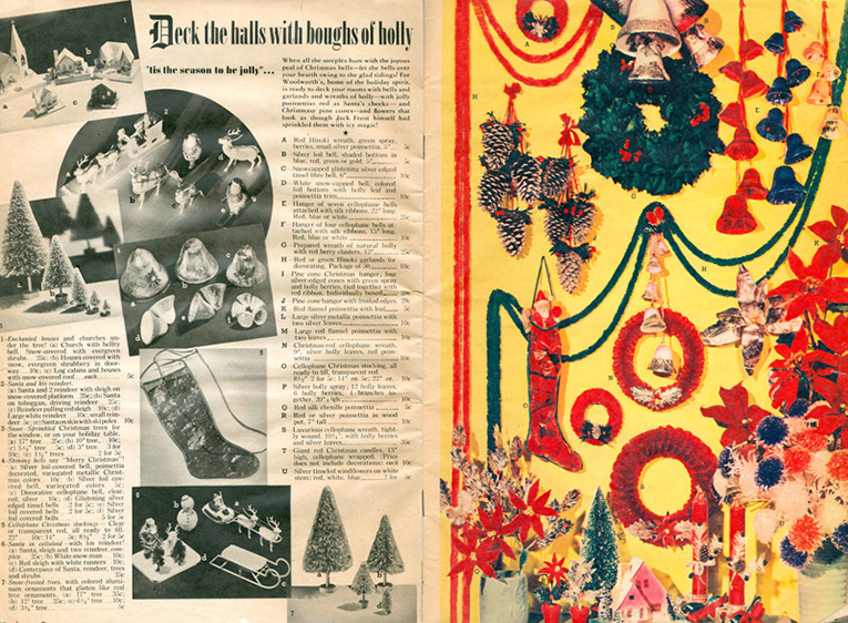 Decorations from the F. W. Woolworth Co. Christmas Catalogue 1939. The cellulose wreath is 35 cents and the seven cellophane bells 25 cents, both almost treble the price of the top-priced Woolworth items in the UK at the time. Click to open a full resolution copy of this spread in a new browser window.