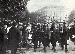 French soldiers mobilised at the start of the Great War in 1914