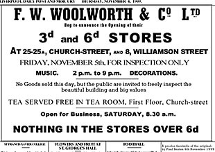 An advertisement announcing the opening of the first British Woolworths on Friday 5 November 1909