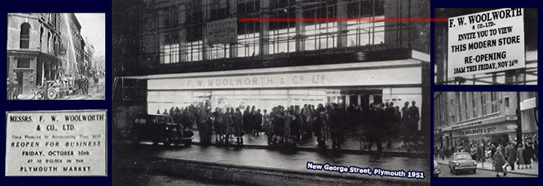 The Plymouth Woolworths finally returned to a bricks and mortar store in November 1951 after ten years of trading in the local market. For much of the next fifty years it was the largest store in the company