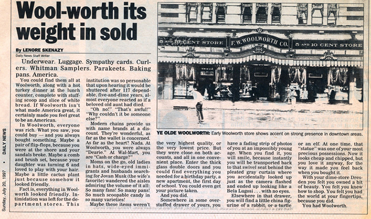 Worth its weight in sold - the Daily News assessment of the closure of the remaining F. W. Woolworth stores in the USA and Canada in July 1997