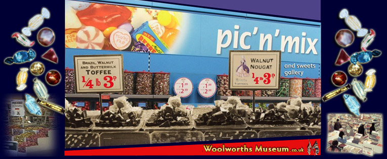 The Pic'n'Mix Sweets Gallery in the Woolworths Museum, celebrating 130 years of weigh-out and wrapped candy at Woolworths High Street stores around the world