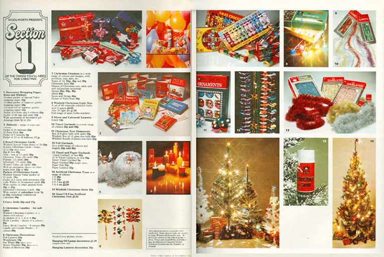A sample spread from Woolworths UK's first national Christmas Catalogue, which was distributed with the Radio Times (the country's best selling magazine) in November 1972,  Click to open a full resolution version of this spread in a new browser window.
