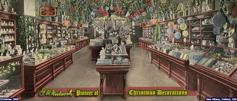 The elaborately decorated salesfloor of the F. W. Woolworth & Co. store in New Albany, Indiana, USA in 1909