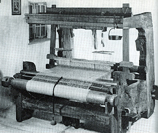 An 18th century weaving machine as used at the Pasold factory