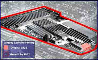 The Ladybird Factory at Langley on the border of Berkshire and Buckinghamshire, showing the scale of expansion over the 30 years from 1932 to 1962.