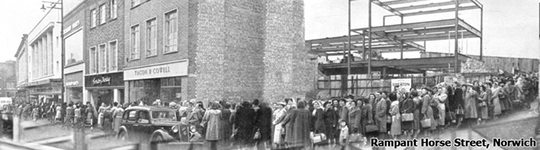 The reopening of Woolworth's in Rampant Horse Street, Norwich in 1950 attracted so many people from across Norfolk that the queue stretched twice around the block.