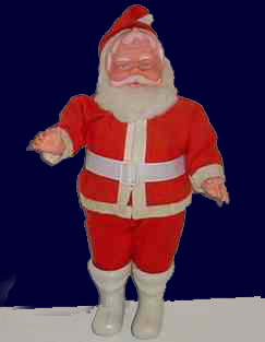 "A 16 inch (35cm) rubber santa claus figure, which featured in the Woolworths decorations range throughout the 1960s and into the 1970s.  They were ""Empire Made"" in Hong Kong"