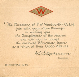 A special Woolworth Christmas card for British and Irish employees in 1940 from Chairman William Lawrence Stephenson