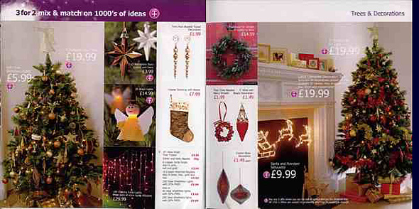 Part of the range of Christmas decorations on sale in Woolworths and Woolworths Big W stores in the UK in 2003
