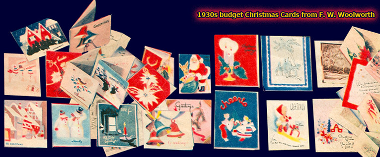 Budget Christmas Cards from Woolworths in the 1930s still look remarkably contemporary today