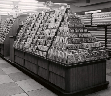The first appearance of modern a more gondola type display of Greetings Cards at Woolworths, from the ultra-modern concept store at Cornmarket, Oxford in 1957