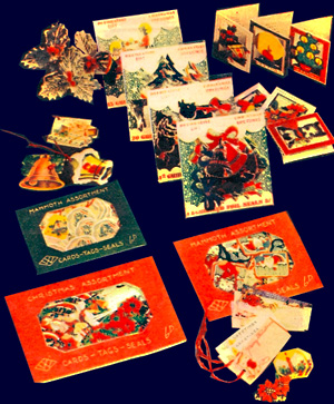 Pre-packed Woolworths Christmas Cards and Tags from the 1930s