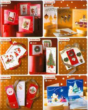 The Woolworths range of Christmas Cards in 2006 from the Big Red Book Catalogue. The threepenny and sixpenny stores, once famous for their value, were now promoting 'extra special handmade cards' at five for three pounds and most items at four pounds - better quality but four times the price of the pound shops and twice the supermarket price