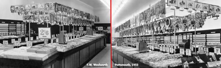 A hanging display of calendars above a counter full of Christmas Cards and Wrapping Paper at the newly rebuilt F. W. Woolworth store in Commercial Road, Portsmouth, Hampshire in 1953